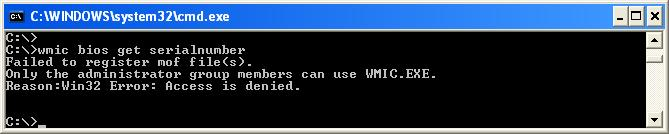 Find serial number of a PC using wmic command