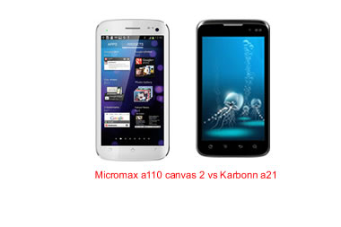 Micromax a110 canvas 2 vs Karbonn a21 comparison