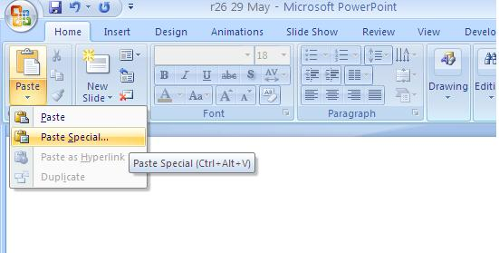 Paste special in ppt