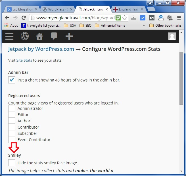 How to hide smiley face at the WP blog footer