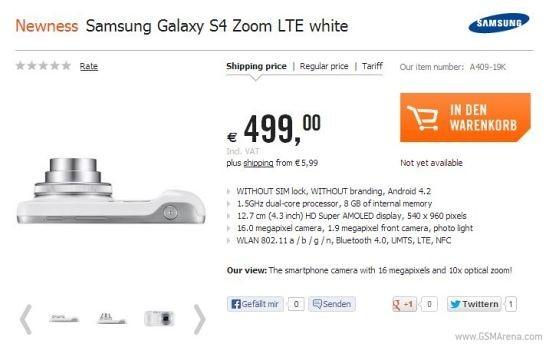 Samsung Galaxy S4 Zoom got a price tag of 499 euros